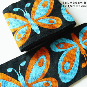 Band Schmetterling schwarz orange türkis