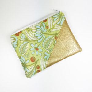 Geldbeutel Kunstleder Gold, florales grünes Blattmuster