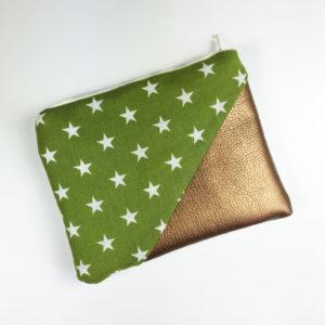 Geldbeutel Kunstleder Kupfer, grün mit Sternen