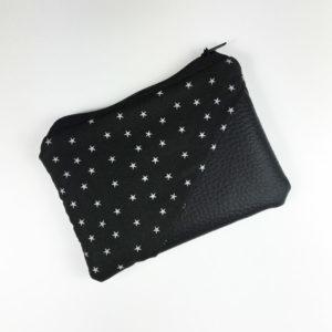 Geldbeutel Kunstleder schwarz, schwarz mit Sternen
