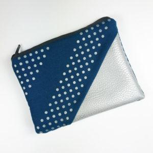 Geldbeutel Kunstleder silber, blau mit Punkten