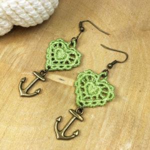 Ohrringe Spitze Herz Grün mit Anker