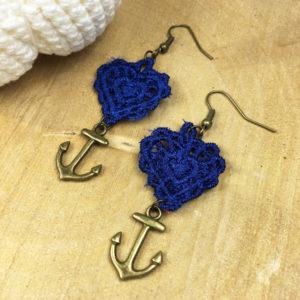 Ohrringe Spitze Herz Königsblau mit Anker