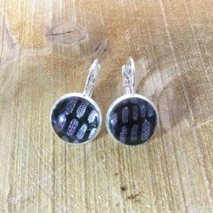 Ohrringe Hänger Silber Schwarz