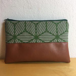Mäppchen braun-grün Geometrisch