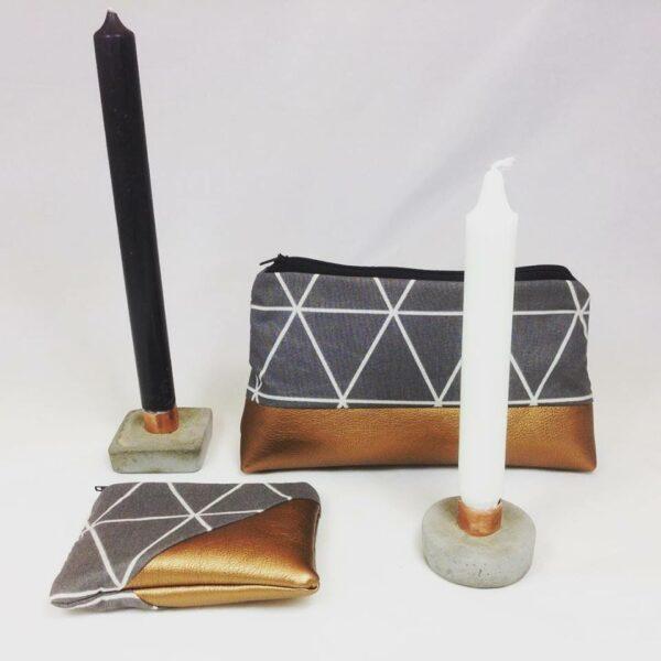 Kerzenleuchter, Kosmetiktasche und Geldbeutel
