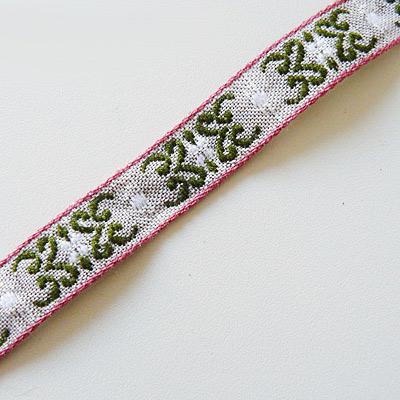 Band grau/ beige mit rosa/ grünem Muster