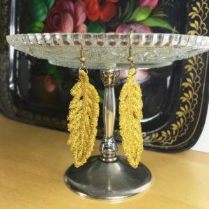 Ohrringe Feder Gold