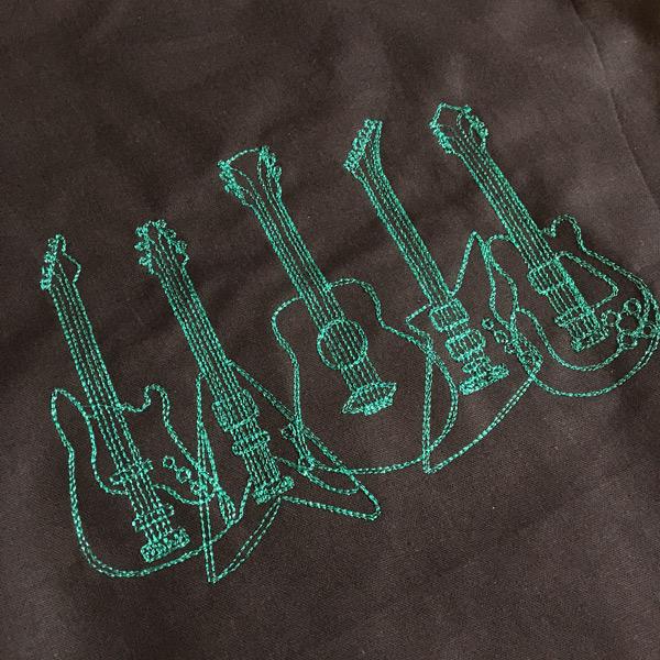 Stoffbeutel Gitarren Grün Glitzer