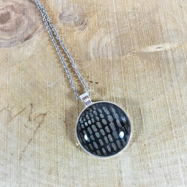 Kette Silber schwarz-silber