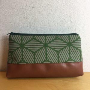 Kosmetiktasche braun-grün Geometrie
