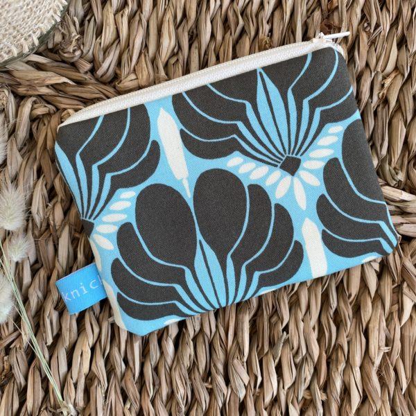 Geldbeutel, Mini-Täschchen, Blau, Flower