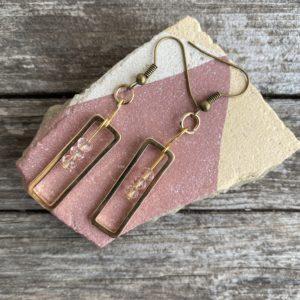 Ohrringe goldfarben, Rechteck, edel mit Glasperle rosa