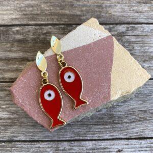 Ohrringe Fisch Rot